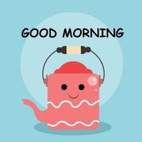 Cute bucket good morning character vector template design illustration