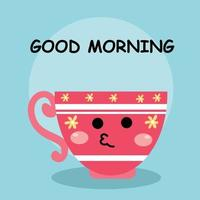 Cute cup good morning character vector template design illustration