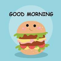 Cute hamburger good morning character vector template design illustration