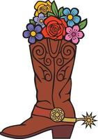 Cowboy boots with flowers vector illustration