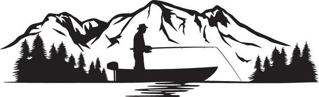 Pescador en un barco y paisaje de montaña ilustración vectorial vector