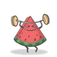 Ilustración de diseño de plantilla de vector de personaje de sandía de levantamiento de pesas