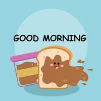 Cute bread smile good morning character vector template design illustration