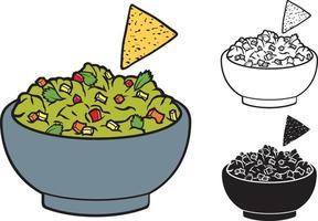 Guacamole and nachos vector illustration
