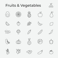 Set of fruits and vegetables isolated icon vector