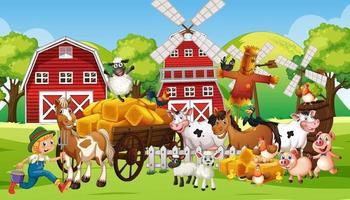 escena de la granja con muchos animales de granja. vector