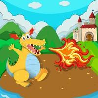 un lindo personaje de dibujos animados de dragón en la escena vector