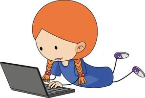 A doodle kid using laptop cartoon character isolated vector