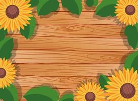 Top view of blank wooden table with leaves and sunflower elements vector
