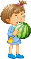 A girl holding watermelon fruit cartoon character isolated on white background vector