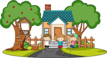Front view of mini house with many kids on white background vector