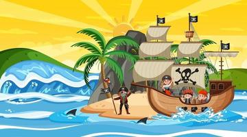 Island with Pirate ship at sunset scene in cartoon style vector