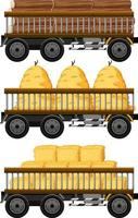 Set of hay on a cart isolated on white background vector