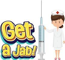 Obtenga una fuente de jab con una enfermera que sostiene una jeringa de vacuna vector