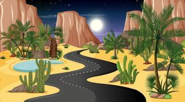 paisaje de la carretera del desierto en la escena nocturna vector
