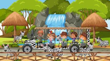 Safari en escena diurna con niños viendo grupo de cebras. vector