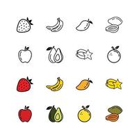 icon fruit in white background vector