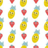 Smiling pineapple and strawberry on a white background. Bright, juicy vector seamless pattern. Children's decor, fruits, berries