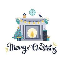 Illustration with a fireplace with a Christmas tree, gifts and festive decor and the inscription Merry Christmas on a white background. Vector flat style. Postcard, print