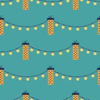 Vector seamless pattern with gift boxes and garlands on a green background. Holiday decor, greeting card