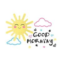 Smiling sun with pink cheeks in the clouds and the inscription Good morning, decorative elements, children's decor vector