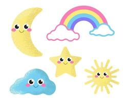 Set of cute icons star, moon, rainbow, cloud and sun. Soft pastel colors, decor for the nursery. Vector flat illustration on a white background