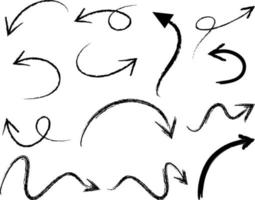 Set of hand drawn arrow doodles on white background vector