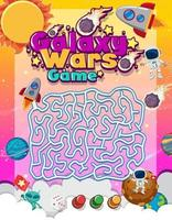 Maze puzzle game activity for children in galaxy theme vector