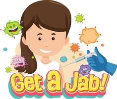 obtener una fuente de jab con una chica recibiendo una vacuna vector