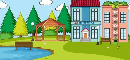 Horizontal scene with hospital building outdoor scene vector