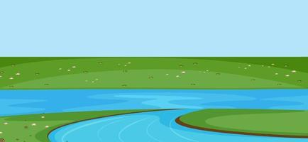 Empty park scene with river in simple style vector