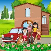 Happy family standing outside home with a car vector