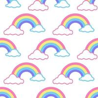 Vector seamless pattern colorful rainbow with clouds on white background, children's decor