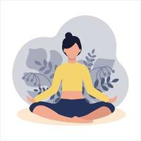 The girl is sitting in the Lotus position on the background of plants. Yoga in nature. Meditation, relaxation. Vector flat illustration isolated on a white background
