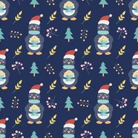 Penguin with a gift and Christmas trees and other decorative elements on a dark blue background. Christmas and new year printing. Vector seamless pattern. Children's decor