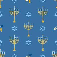 Happy Hanukkah, the Jewish festival of lights. Menorah candle holder with lighted candles. Vector seamless pattern on a blue background, Wallpaper