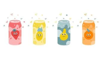 Set of fruit carbonated drinks. Strawberry, pineapple, orange, pear. Vector flat illustration on a white background