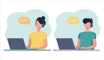Online consultant. A woman and a man work on a laptop, communicate on a headset and in messages. home office, vector flat style on white background