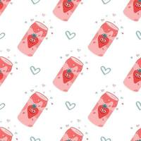 Strawberry carbonated drink in an aluminum metal can. Vector seamless pattern on a white background