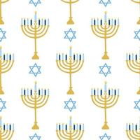 Happy Hanukkah, the Jewish festival of lights. Menorah candle holder with lighted candles. Vector seamless pattern on a white background, Wallpaper.