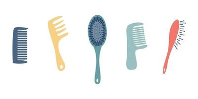 A set of combs. Various shapes and colors. Vector flat style on a white background