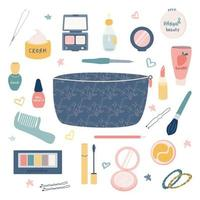 A large set of items for makeup and personal care from a cosmetic bag lipstick, cream, mascara, eye shadow, comb, powder, etc. Women's handbag vector flat image on a white background