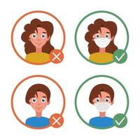 Information for visitors. With and without a mask. Individual protection against coronavirus, no entry without a mask. Vector flat image on a white background