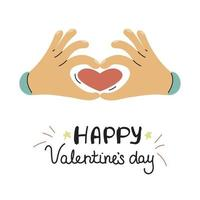 Hands show a heart. Valentine's day greeting card in Doodle style. Vector illustration on a white background
