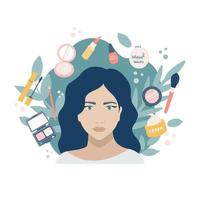 Young girl with makeup products. Portrait on a background of plants. In a circle mascara, powder, lipstick, nail Polish, mirror, brush, eye shadow, pencil, day cream. Vector flat image, icon