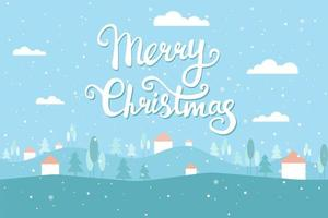 Christmas greeting card with winter landscape. Snow sky, houses, Christmas trees. Vector flat illustration