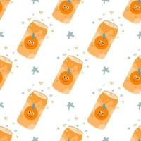 Orange carbonated drink in an aluminum metal can. Vector seamless pattern on a white background