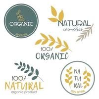A set of icons. Organic products, cosmetics. Vector image on a white background