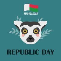 la fiesta es el día de la república de madagascar. bandera del país. 30 de diciembre. La cara de un lémur sobre un fondo verde. vector de imagen plana