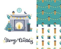 Set with a Christmas greeting card. Fireplace with Christmas tree and gifts. two Festive patterns. Vector flat image